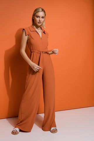 Sleeveless Orange Jumpsuit