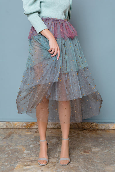multicolor tulle skirt