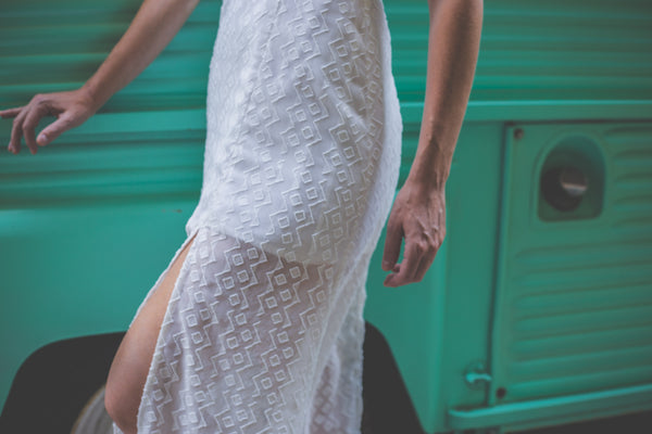White Midi Dress with slits