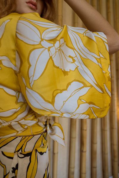 yellow satin summer top
