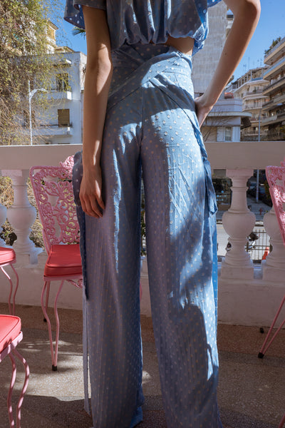 Blue wide leg pants with ties