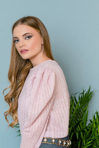 pink sweater with puff sleeves
