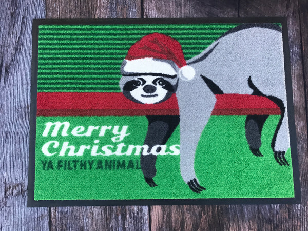 Christmas Sloth Doormat - Customisable