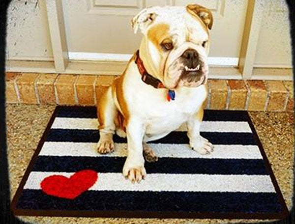 Stripe Doormat with Heart