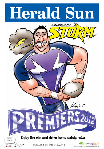 Mark Knight LIMITED EDITION Melbourne Storm Premiership Poster - 2012