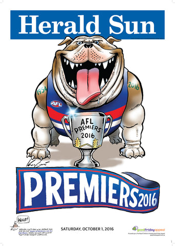 2016 Mark Knight Premiership Poster - Framed and Signed by Marcus Bontempelli