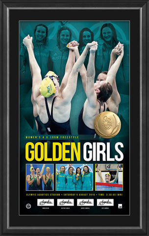 GOLDEN GIRLS – WOMEN'S 4X100 METRES FREESTYLE RELAY PERSONALLY SIGNED GOLD MEDALLIST LITHOGRAPH