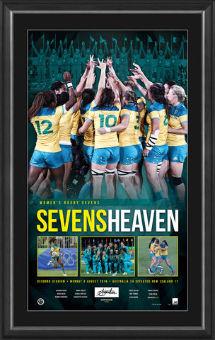 SEVENS HEAVEN - WOMEN'S RUGBY SEVENS PERSONALLY SIGNED GOLD MEDALLIST LITHOGRAPH