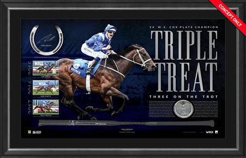 Official Winx Memorabilia - WINX COX PLATE DUAL SIGNED HORSESHOE & WHIP DISPLAY