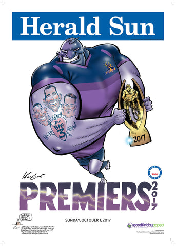 Mark Knight LIMITED EDITION Melbourne Storm Premiership Poster - 2017