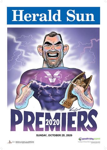 2020 Mark Knight Melbourne Storm Premiership Block Mounted Poster