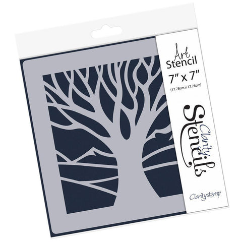 "Panoramic Aperture One Tree Stencil 7"" x 7"""
