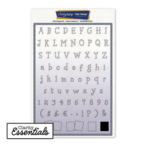 Tall Letterbox Alphabet & Numbers Outline + Mask A4 Unmounted Stamp Set