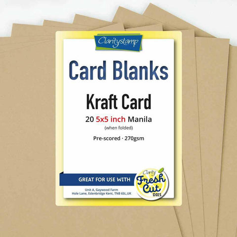 "Kraft Card Blanks <br/>5"" x 5"" x20"