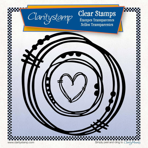 Leonie's Nested Heart Scribbles Unmounted Clear Stamp Set