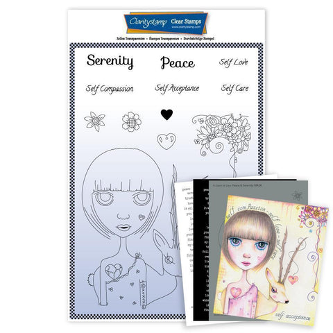 Large Dee's Friends - Serenity & Peace Unmounted Clear Stamp Set + MASK & 2x Phrase Sheets