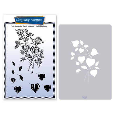 Chinese Lantern Floral Spray Stamp & Stencil Set