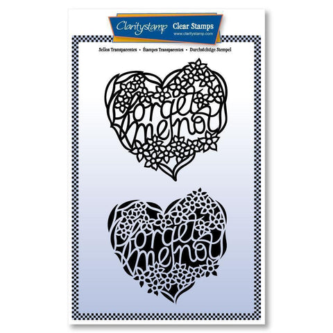 Forget Me Not Heart - Two Way Overlay Unmounted Clear Stamp Set