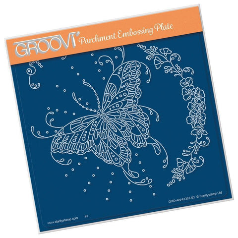 Cherry's Butterflies & Floral Flourish <br/>A5 Square Groovi Plate