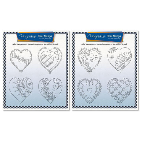 Linda's King & Queen of Hearts - A5 Square Stamp Sets + Masks