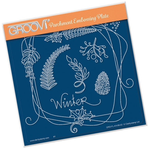 Entwined Winter Circle Wreath <br/>A5 Square Groovi Plate
