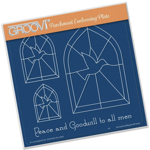 Dove Window <br/> A5 Square Groovi Plate <br/> (Set GRO-CH-40424-03)