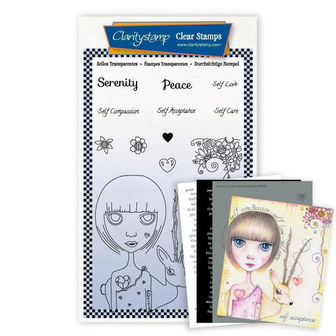 Small Dee's Friends - Serenity & Peace Unmounted Clear Stamp Set + MASK & 2x Phrase Sheets