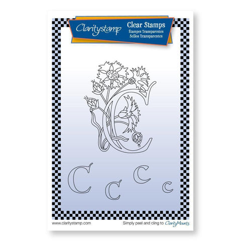 Floral Alphabet - Letter C <br/>Unmounted Clear Stamp Set