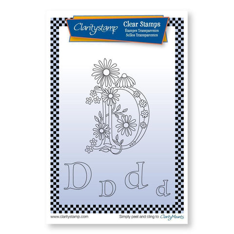 Floral Alphabet - Letter D <br/>Unmounted Clear Stamp Set