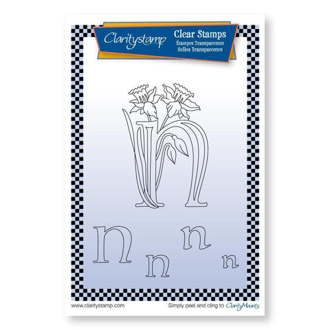 Floral Alphabet - Letter N <br/>Unmounted Clear Stamp Set