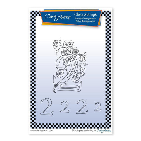 Floral Numbers - 2 <br/>Unmounted Clear Stamp Set