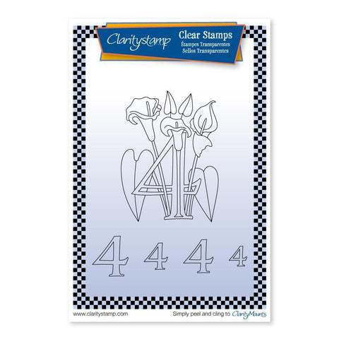 Floral Numbers - 4 <br/>Unmounted Clear Stamp Set