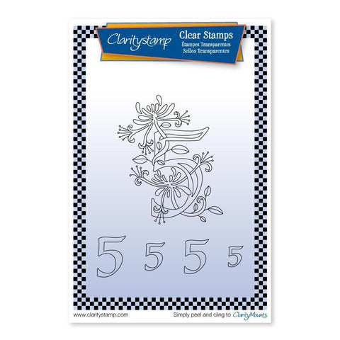 Floral Numbers - 5 <br/>Unmounted Clear Stamp Set