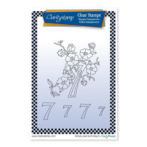 Floral Numbers - 7 <br/>Unmounted Clear Stamp Set