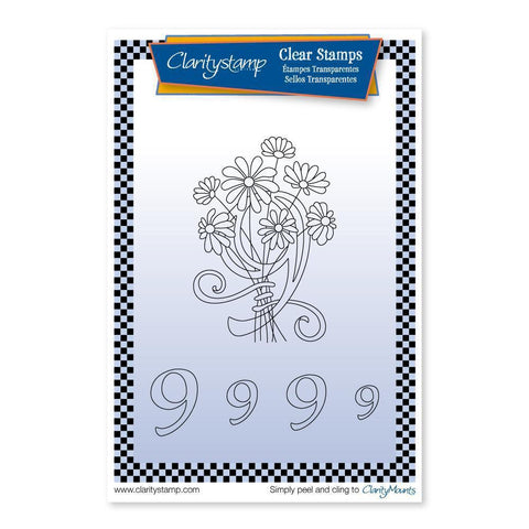 Floral Numbers - 9 <br/>Unmounted Clear Stamp Set