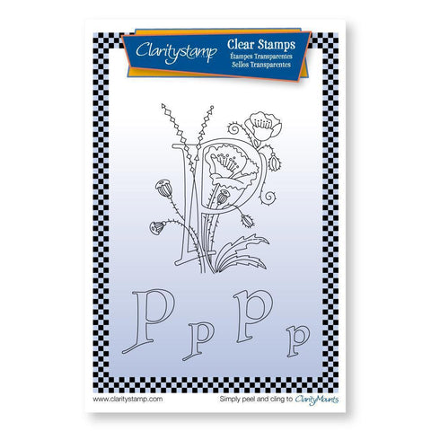 Floral Alphabet - Letter P <br/>Unmounted Clear Stamp Set