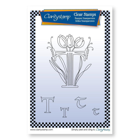 Floral Alphabet - Letter T <br/>Unmounted Clear Stamp Set