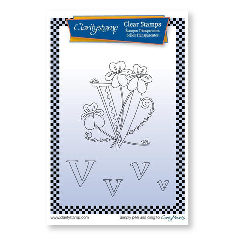 Floral Alphabet - Letter V <br/>Unmounted Clear Stamp Set
