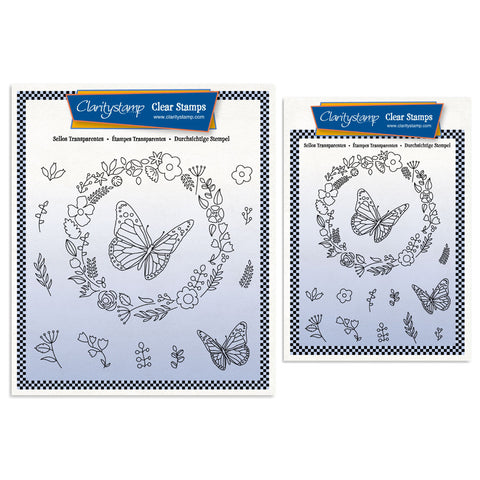 Butterfly Wreath A5 Square & A6 Stamp & Mask Set