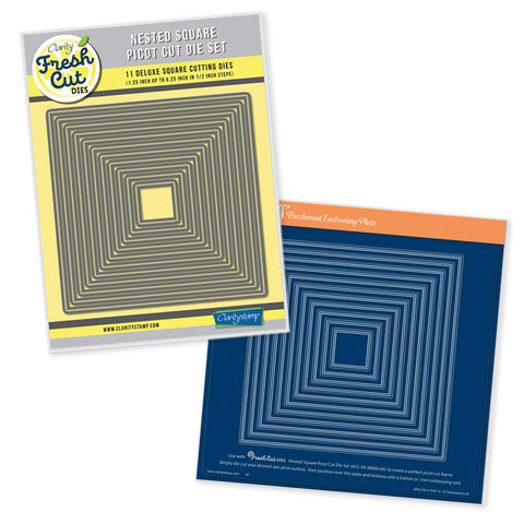 Nested Squares Picot Cut Die Set & Groovi Plate