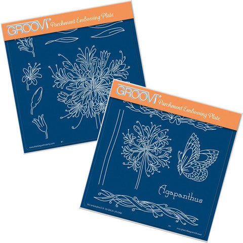 Jayne's Agapanthus Set <br/> A5 Square Groovi Plates (Set of 2)