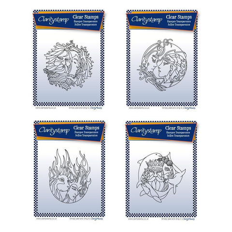Air, Earth, Fire & Water Elements + MASKS Unmounted Clear Stamps Bundle