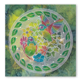 Leafy Birds Round A5 Square Groovi Plate (Set GRO-TR-40835-03)