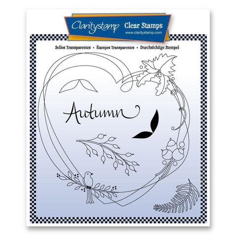 Entwined Autumn Heart Wreath <br/>Unmounted Clear Stamp Set