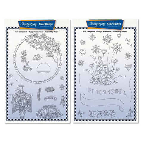 Barbara's SHAC Geisha & Let the Sun Shine Doodle + Masks <br/> A5 Stamp Sets