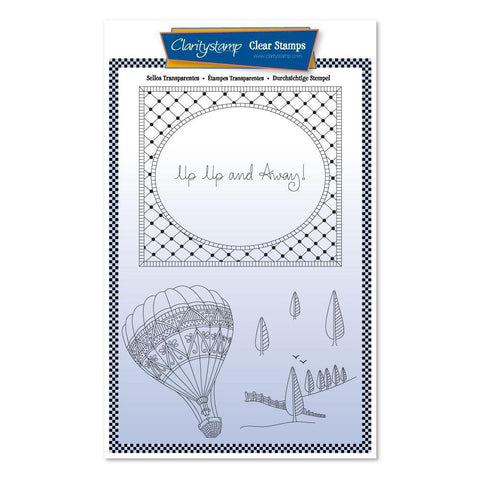 Barbara's SHAC Hot Air Balloon Doodle + Mask A5 Unmounted Stamp Set