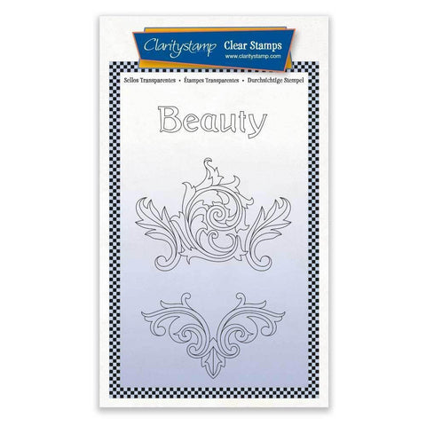 Beauty Filigree Swirls + MASK <br/>Unmounted Clear Stamp Set