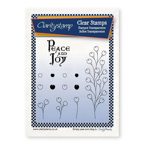 Berry Branch with Peace & Joy <br/>Unmounted Clear Stamp Set