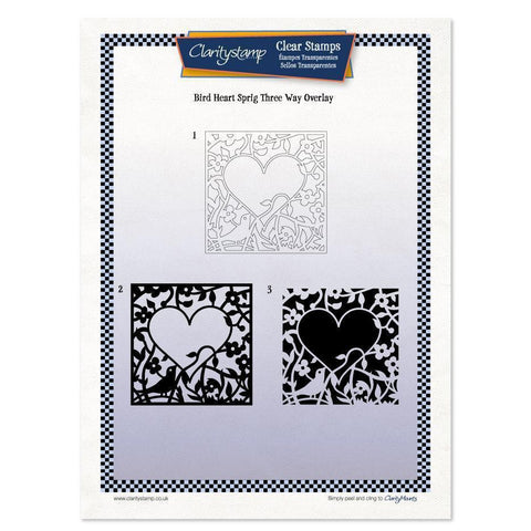 Bird Heart Sprig Three Way Overlay <br/>Unmounted Clear Stamp Set