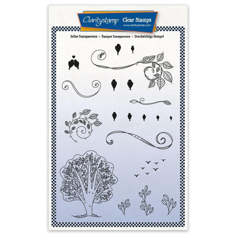 Barbara's SHAC Woodland Birds on a Wire - A5 Stamp Set & Mask
